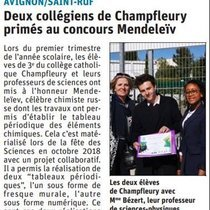 2019 05 16 article Vaucluse matin Consours Mendeleïev 2019